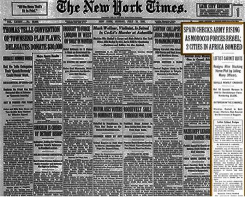 Portada del NY Times el 18 de julio de 1936